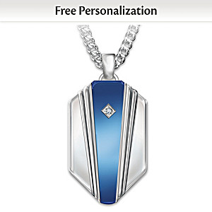 """My Grandson, My Hero"" Personalized Diamond Pendant Necklace"