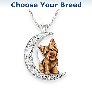 Dog And Crystal Moon Pendant Necklace: Choose Your Breed