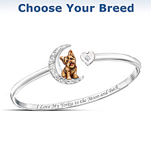 Dog And Moon Swarovski Crystal Bracelet: Choose Your Breed