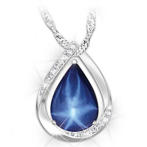 """Heavenly Light"" Created Star Sapphire Pendant Necklace"