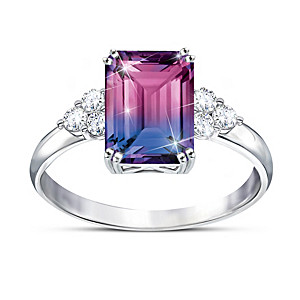 2-Carat Bi-Colored Simulated Tourmaline Ring With Topaz