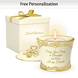 """Our Love Story"" Personalized Porcelain Candleholder"