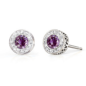 """Classic Glamour"" Genuine Gemstone And Diamond Earrings"