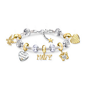"""Pride Of The Navy"" Beaded Charm Bracelet"