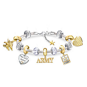 """Pride Of The Army"" Charm Bracelet With Classic Army Symbols"