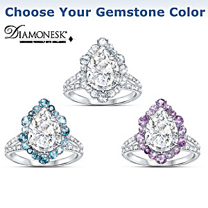 """Pure Brilliance"" Diamonesk Ring: Choose From 3 Gem Colors"