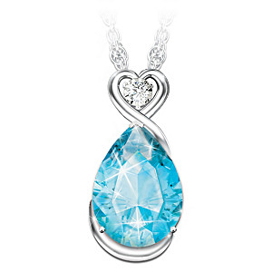 """""""Words Of Comfort"""" Topaz Necklace With A Solitaire Diamond"""