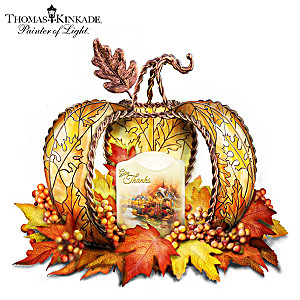 Thomas Kinkade Illuminated Pumpkin Table Centerpiece