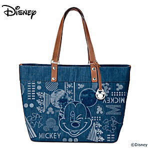Disney Mickey Mouse Denim Tote Bag With Faux Leather Accents