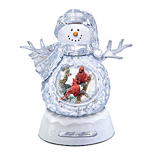 Musical Snowman Snowglobe With Cardinals Lights Up