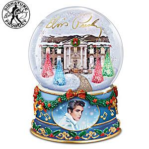 "Elvis Presley Light-Up Glitter Globe Plays ""Blue Christmas"""