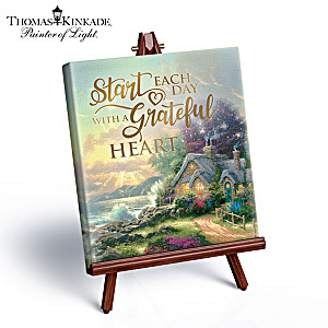 "Thomas Kinkade ""Grateful Heart"" Mini Art Canvas And Easel"