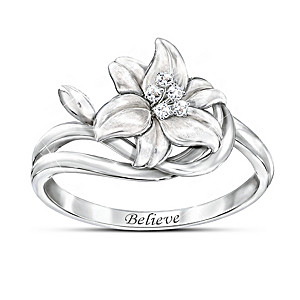 """""""Miracle Lily"""" Religious Ring With 5 Genuine White Diamonds"""