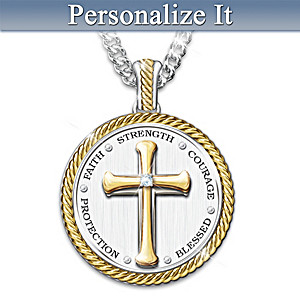 Religious Grandson Medallion Necklace With Personalized Card