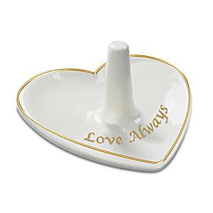 """""""Love Always"""" Porcelain Heart-Shaped Ring Holder"""