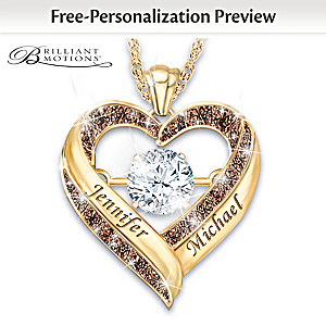 """Endless Love"" Brilliant Motions Pendant Engraved With Names"