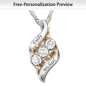 """Today, Tomorrow & Always"" Personalized Pendant Necklace"