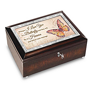 Wings Of Hope Butterfly Themed Heirloom Music Box Lined In Black Velvet