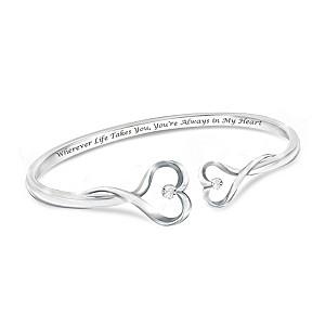 """Always In My Heart"" Engraved Diamond Bangle Bracelet"