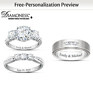 """Infinite Love"" His & Hers Personalized Wedding Ring Set"