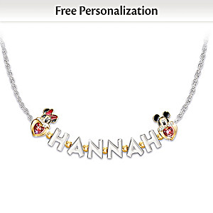 Disney Necklace Personalized With Name And Birthstones