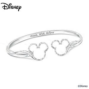 "Mickey Mouse ""Believe"" Bracelet With 60 Swarovski Crystals"