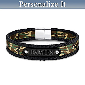 Camo And Leather Bracelet Personalized With Son's Initials