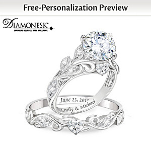 """Our Love Blooms Forever"" Personalized Bridal Ring Set"