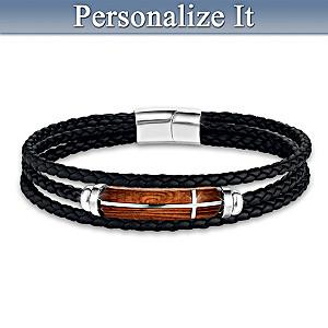 """""""Strength & Power In God"""" Leather Bracelet For Son"""