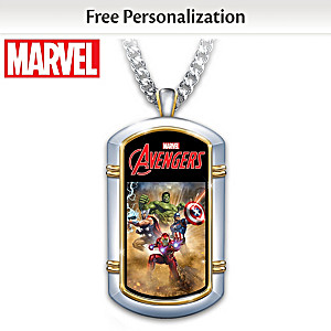 MARVEL Hero Personalized Dog Tag Necklace For Your Grandson