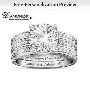 """Always My Love"" Personalized Diamonesk Jacket Ring Set"