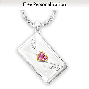 Personalized Birthstone Letter Necklace For Granddaughter