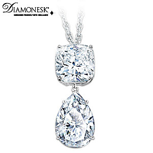 Queen Elizabeth-Inspired 40-Carat Diamonesk Pendant Necklace