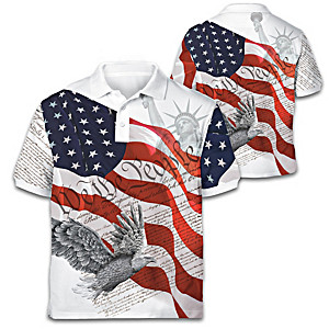 """Spirit Of America"" Patriotic Men's Polo Shirt"