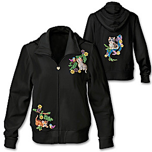 Cotton Blend Women's Hoodie With Cat Artwork And Rhinestones