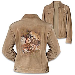 """""""Kitten Capers"""" Faux Suede Women's Jacket"""