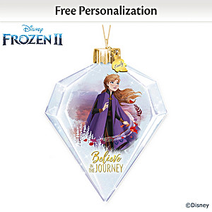 "Disney FROZEN 2 Personalized ""Anna"" Glass Ornament Lights Up"