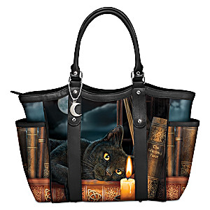 """Lisa Parker """"Witching Hour"""" Black Cat Art Women's Tote Bag"""
