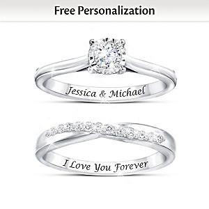 """Everlasting Love"" Personalized Diamond Bridal Ring Set"