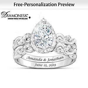 """Perfect Pair"" Personalized Diamonesk Bridal Ring Set"