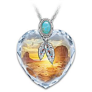 """""""Sedona Sunrise"""" Crystal Necklace With Turquoise Cabochon"""
