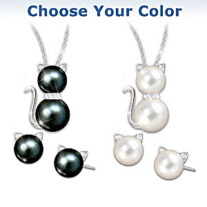 Cat Cultured Pearl Necklace And Earrings: Choose Your Color
