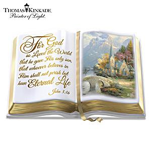 """Thomas Kinkade """"The Word Of God"""" Porcelain Bible Sculpture"""