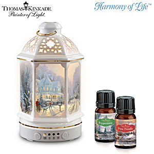 Thomas Kinkade Porcelain Diffuser And Essential Oils Set