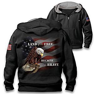 """""""Home Of The Brave"""" Men's Full Zip Patriotic Hoodie"""