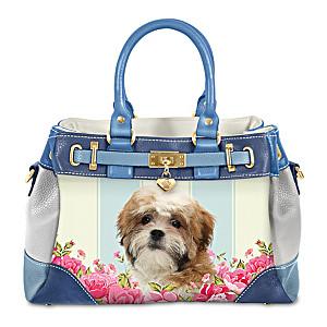 """Playful Pup"" Shih Tzu Handbag With Pawprint Charm"