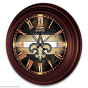 New Orleans Saints Illuminated Atomic Wall Clock