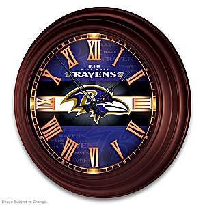 Baltimore Ravens Illuminated Atomic Wall Clock