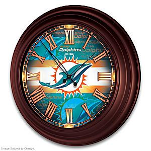 Miami Dolphins Illuminated Atomic Wall Clock