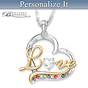 """The Heartbeat Of Our Family"" Birthstone Pendant Necklace"